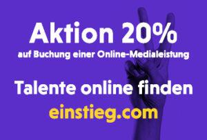 20 Prozent Rabatt auf alle Online-Produkte von Einstieg