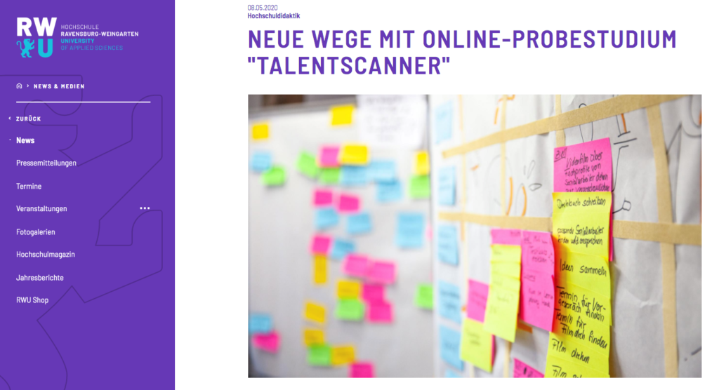 Probestudium Talentscanner der Hochschule Ravensburg-Weingarten